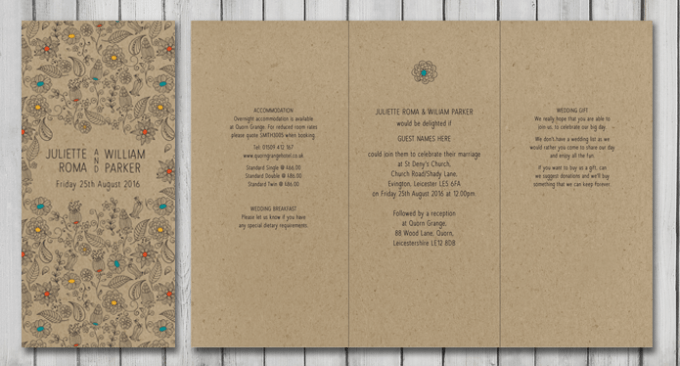 Eco friendly Natural Wedding Stationery
