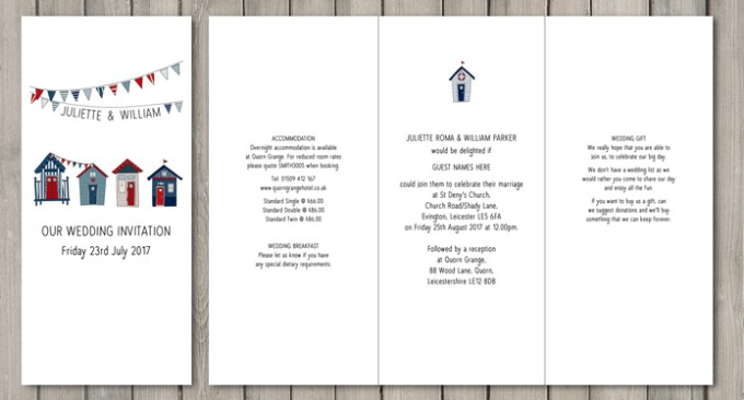 Beach Hut DL wedding stationery