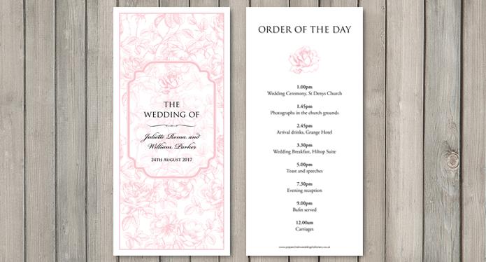 English Rose wedding stationery