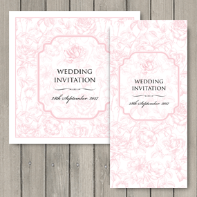 English Rose Wedding Stationery in pale pink.
