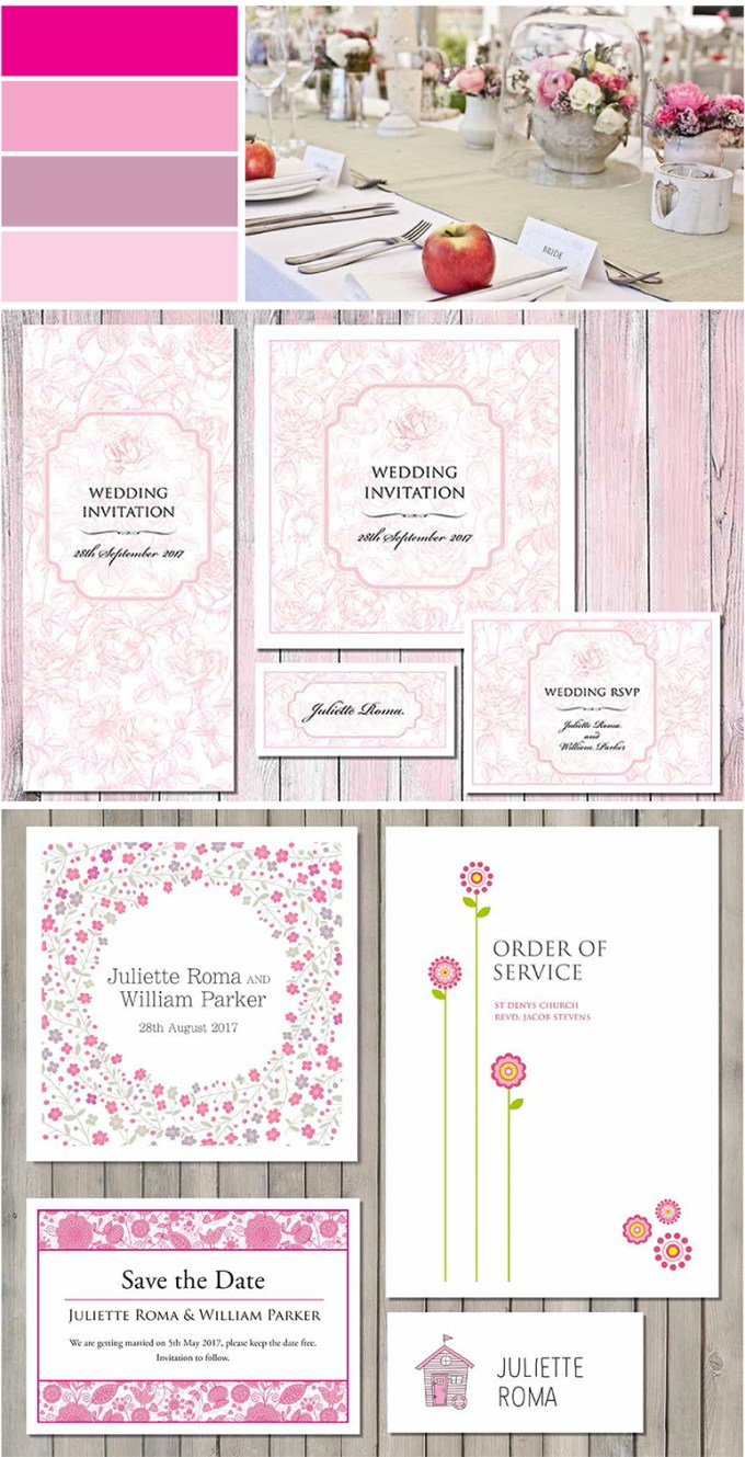 Pretty Pink Wedding Stationery Image