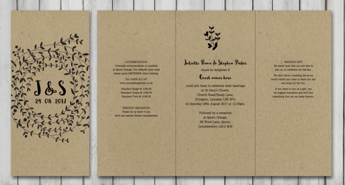 Wreath DL Wedding Stationery