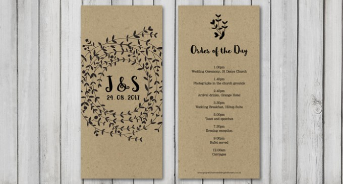 Wreath Wedding Stationery Order of the Day