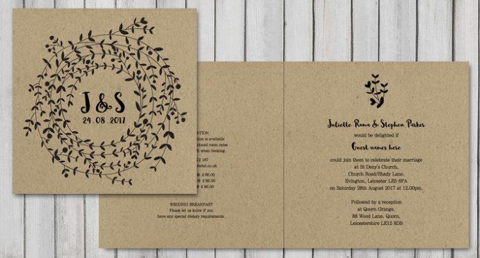 Wreath Square Wedding Stationery