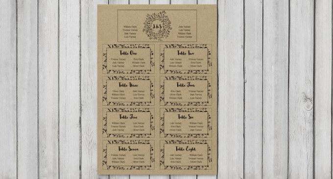 Wreath Large Wedding Table Plan