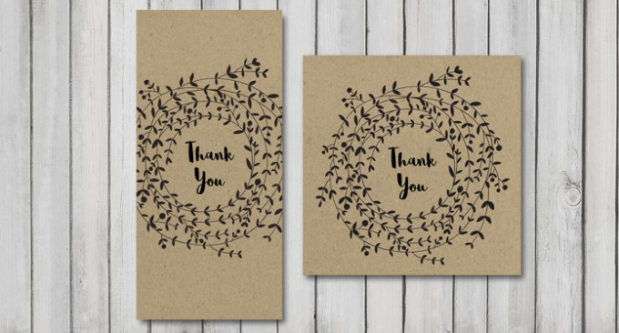 Wreath Wedding DL and Square Thank You Card