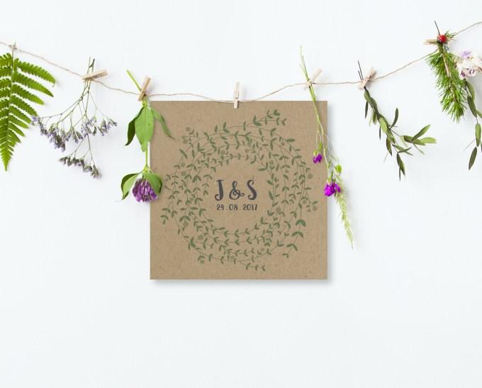 Wreath Wedding Invitation