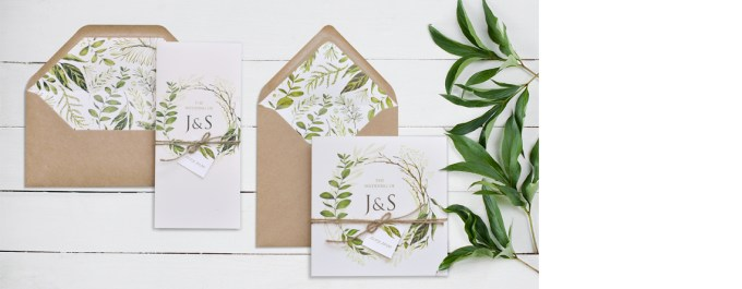 Greenery Wedding Invitations and envelope liners