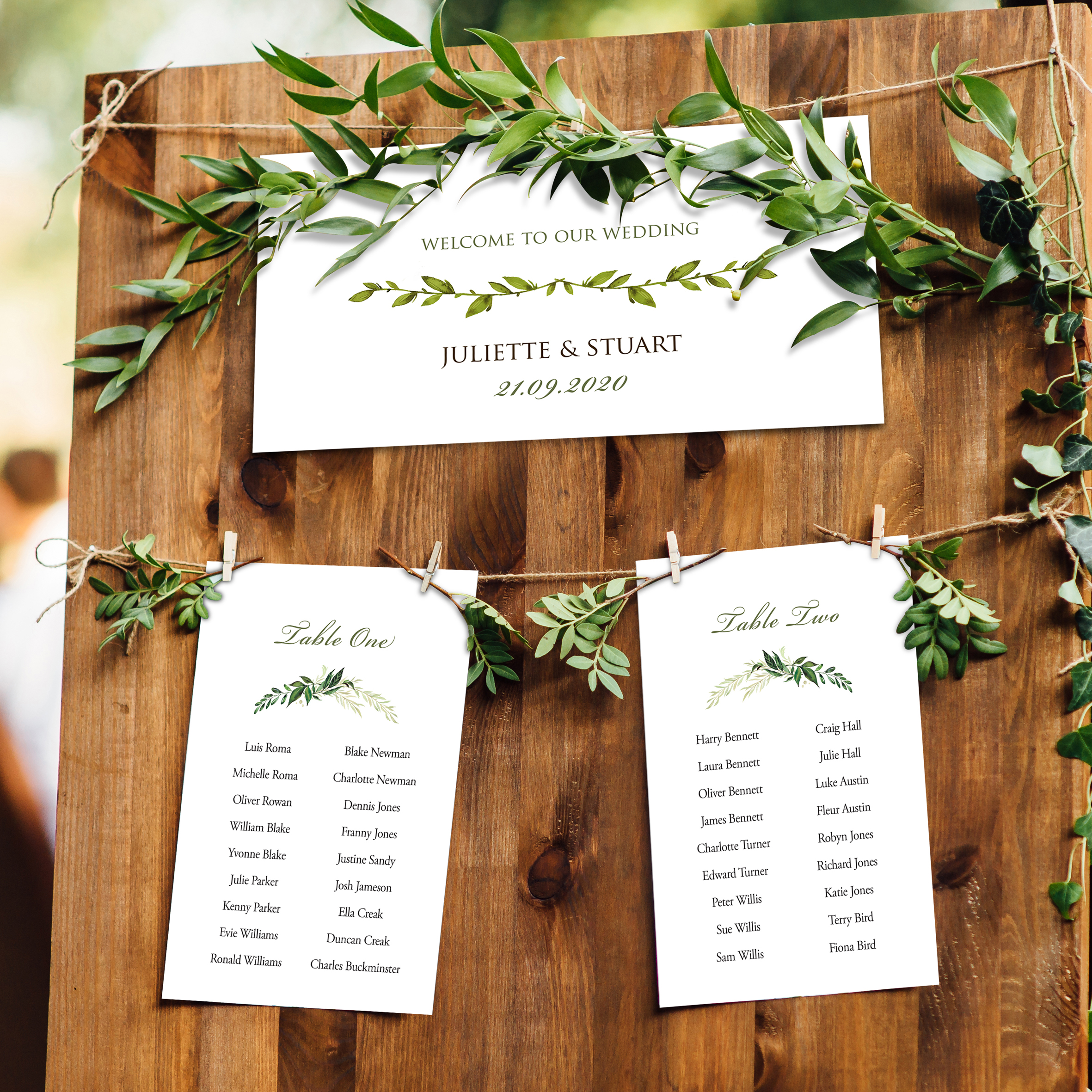 Greenery on the day wedding stationery