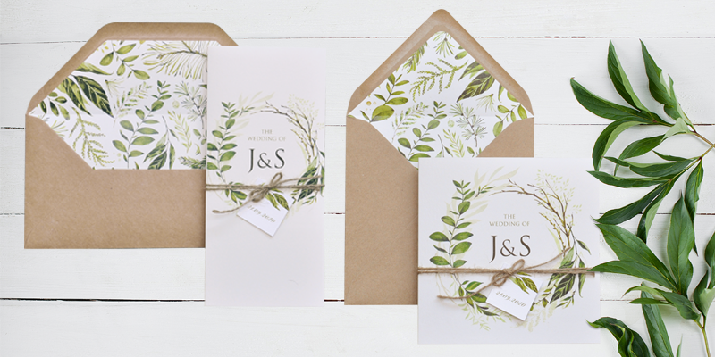 Greenery eco friendly wedding invitations can supplied with envelopes with matching liners.