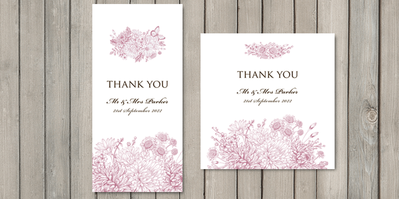 Wedding thank you cards are a lovely way to end the Botanical Garden wedding stationery set.