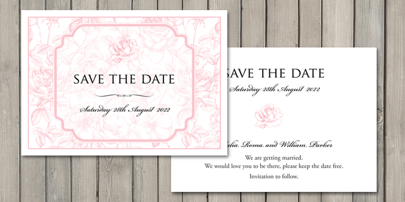 English Rose wedding stationery, save the date cards will let guest know of your wedding date.