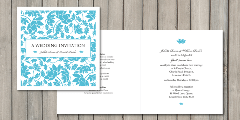 Florence square wedding invitations are printed on all 4 pages and can also be personalised on each page.