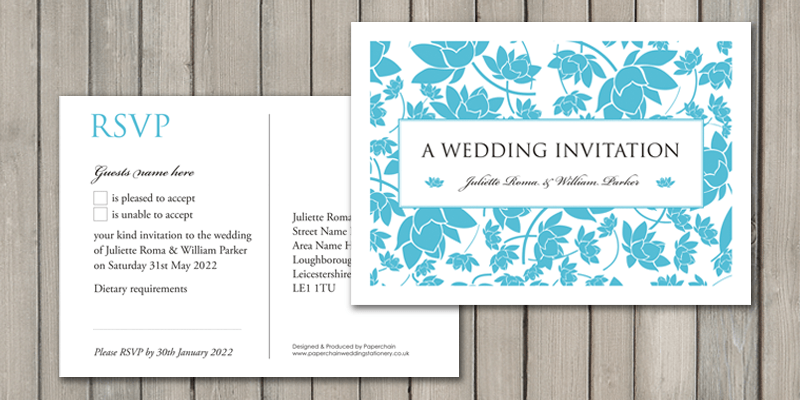 Florence RSVP cards make it quick and easy for guests to reply to their wedding invitation.