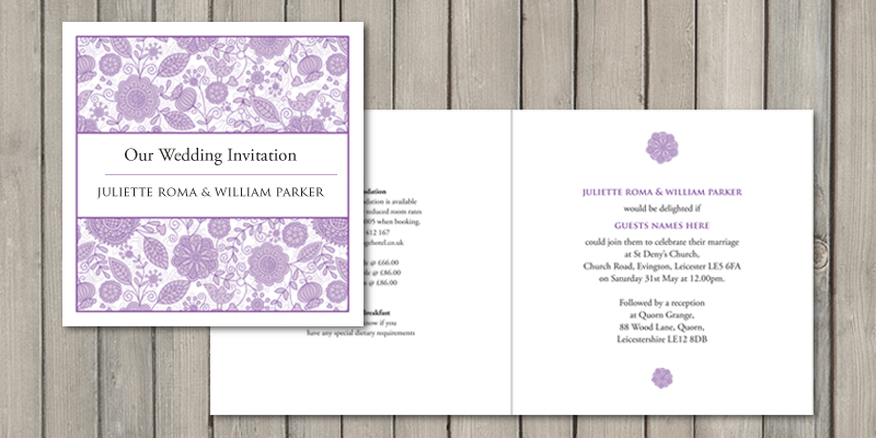 Love Birds square wedding invitation can be folded as a standard card or can also be 2 pages.