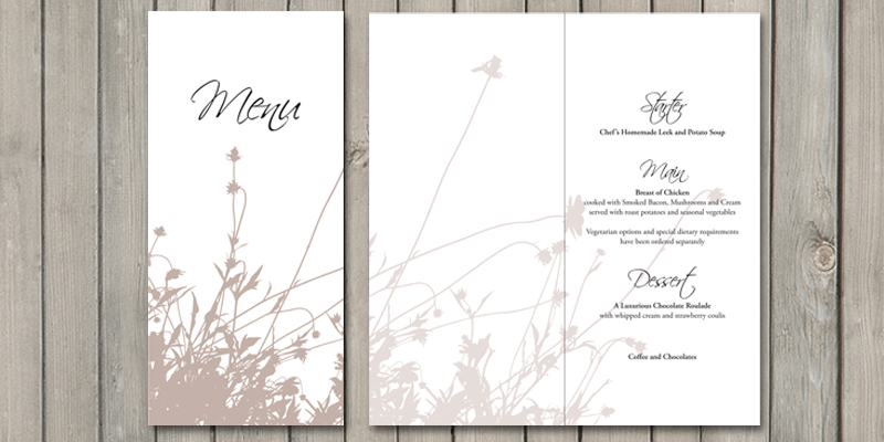 Summer Breeze wedding breakfast menu can include the menu and also any other guest information.
