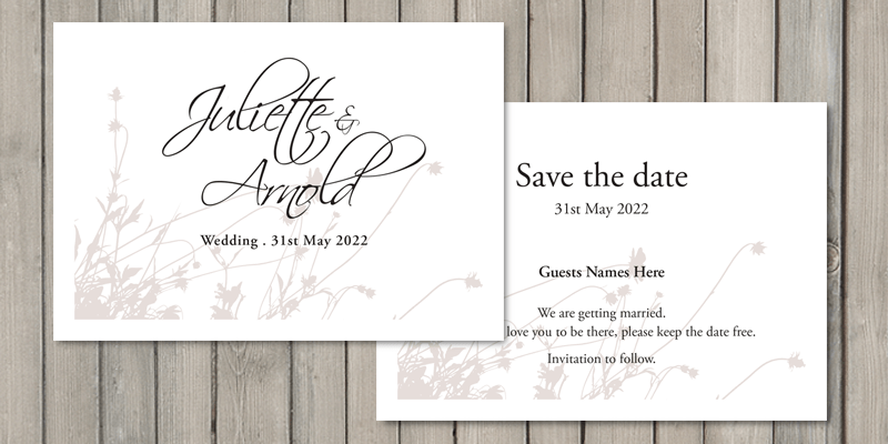 Summer Breeze save the date cards are printed onto a great quality 350gsm thick card.