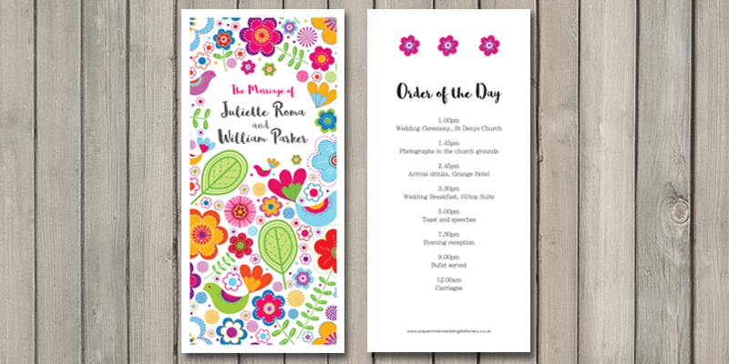 Sunshine order of the day is the first part of the 'on the day' wedding stationery.