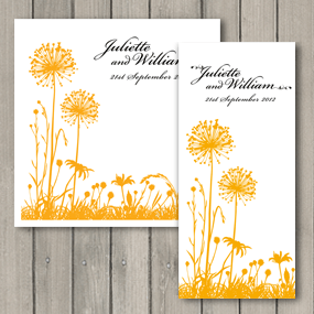 Tranquility wedding printed in sunshine yellow