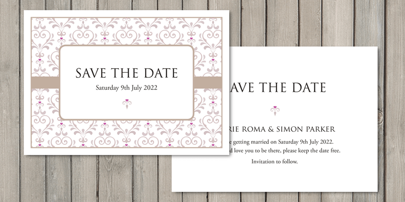 True Love save the date cards are printed on two sides with personalisation on both.