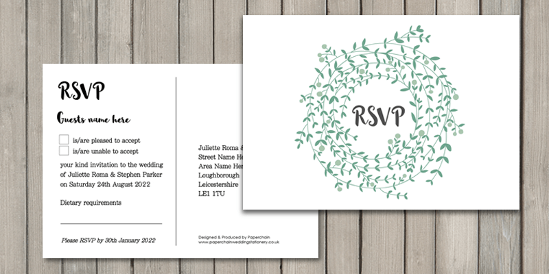 Wreath Wedding RSVP card enables guests to reply quickly and easily.