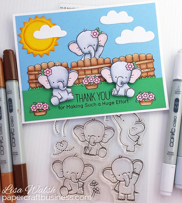 Elephant Thank You Card featuring the MFT Adorable Elephants stamp set. Visit the blog post to view more pics & to find out more about the supplies I used to create this adorable card. Designed by Lisa Walsh @ Papercraft Business #mftstamps #myfavoritethingsstamps #adorable elephants MFT #mft adorable elephants #thankyoucards #papercraftbusiness