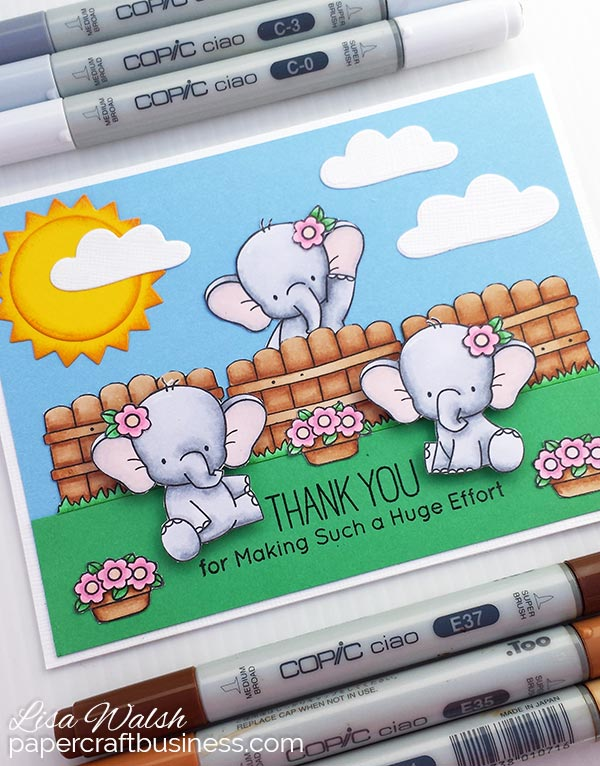 Elephant Thank You Card - MFT Adorable Elephants
