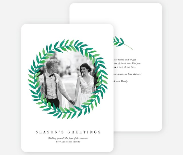 Circle Of Leaves Holiday Cards Black