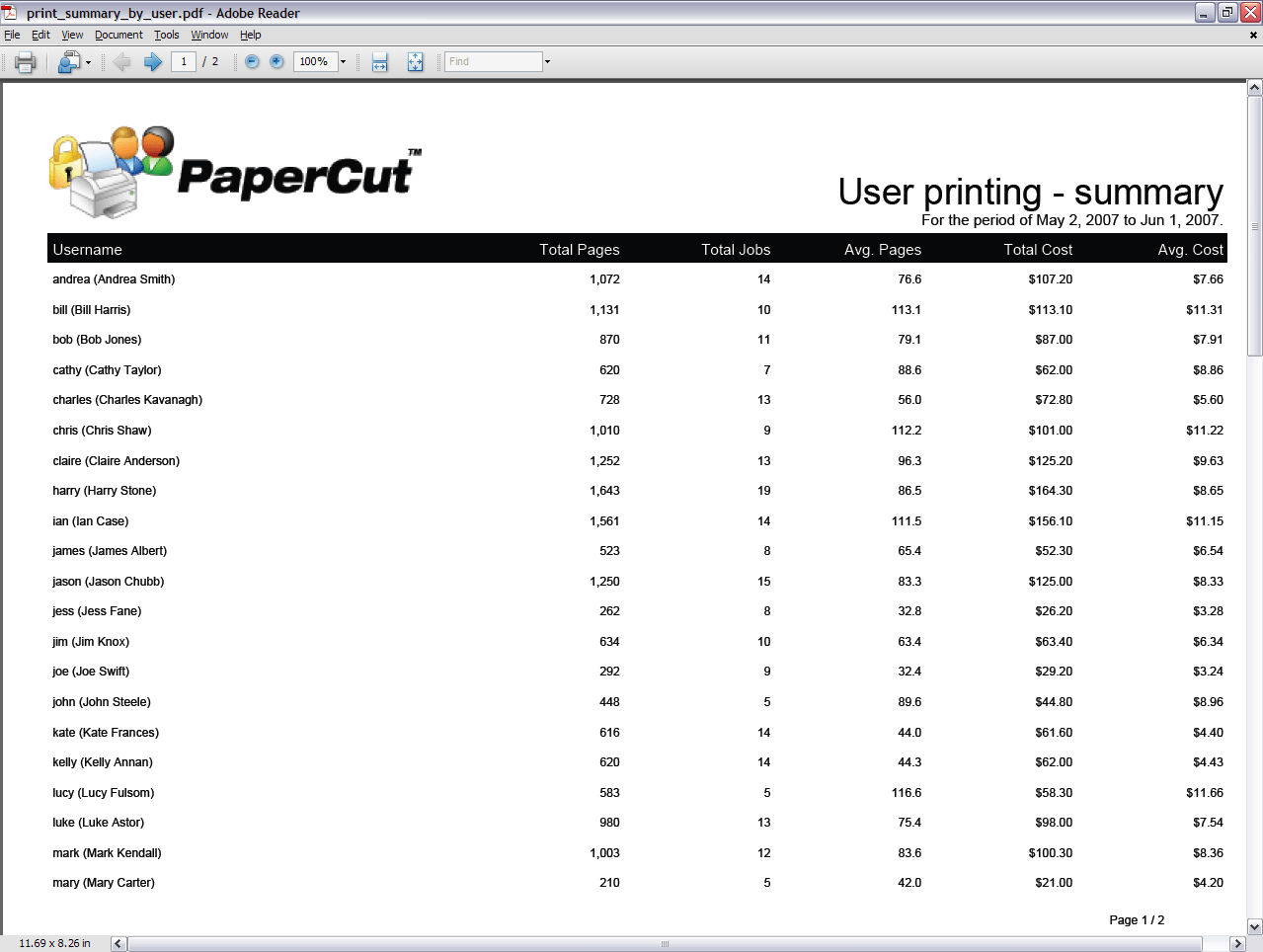 hight resolution of report user printing summary