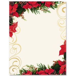 Poinsettia Swirl Specialty Border Papers PaperDirects