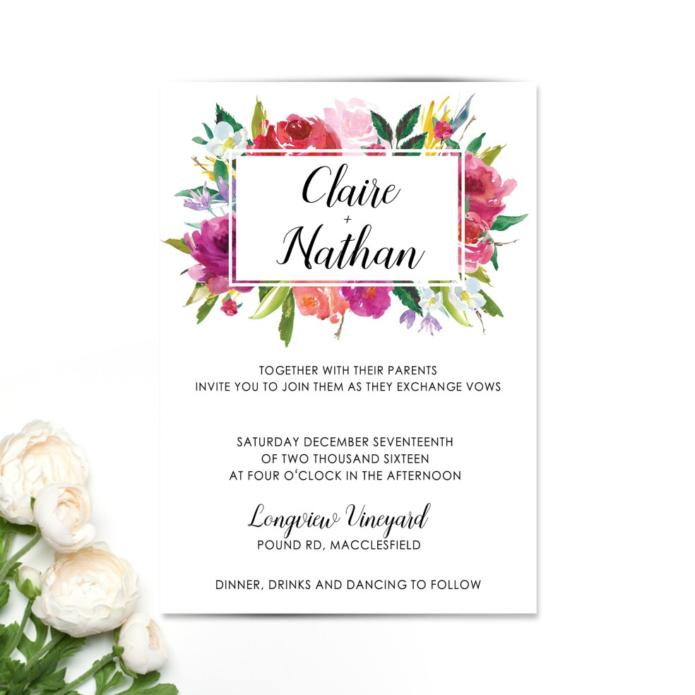 Bright Rosey Floral Wedding Invitation