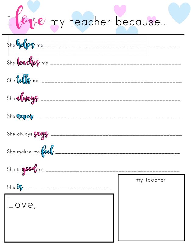 Give your child's teacher the best possible gift, one from the heart. Let your child's teacher know that she is appreciated with this free printable. Perfect for Christmas, Teacher Appreciation Day, or the end of the school year.