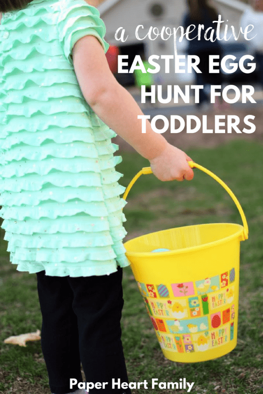 cooperative Easter egg hunt for toddlers