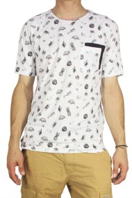 Ανδρικό double pocket all over print T-shirt λευκό