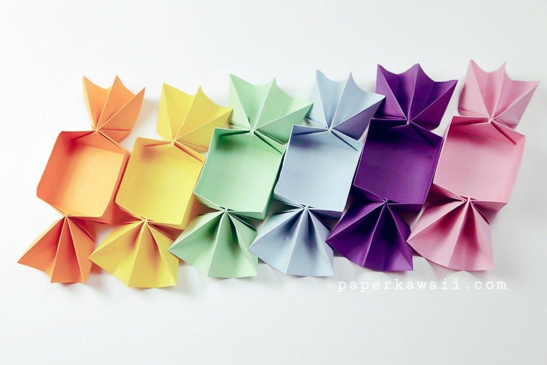 Sweet Origami Candy Box - Video Tutorial via @paper_kawaii