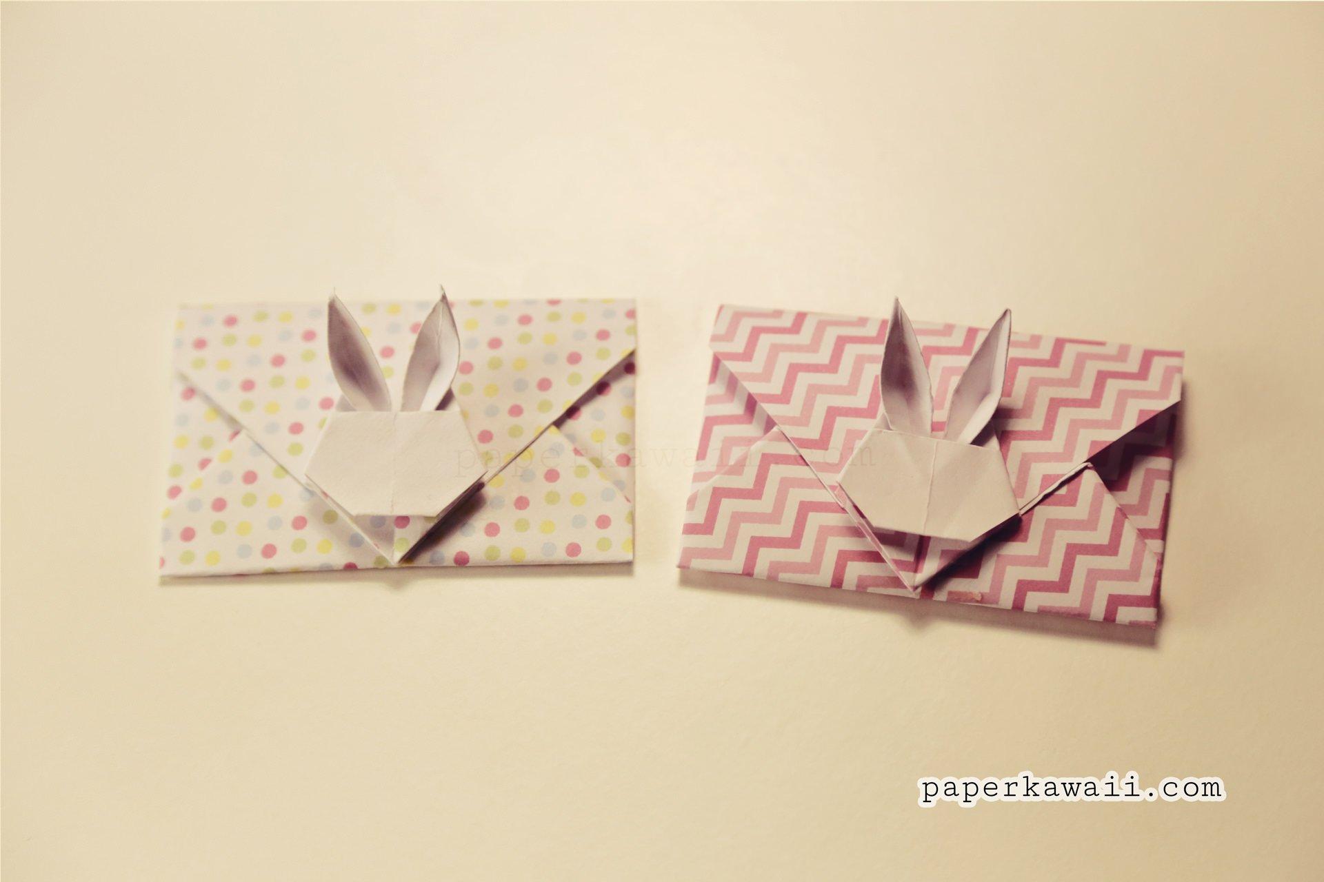 Origami bamboo letterfold folding instructions - Origami Bunny Rabbit Envelope Tutorial V2