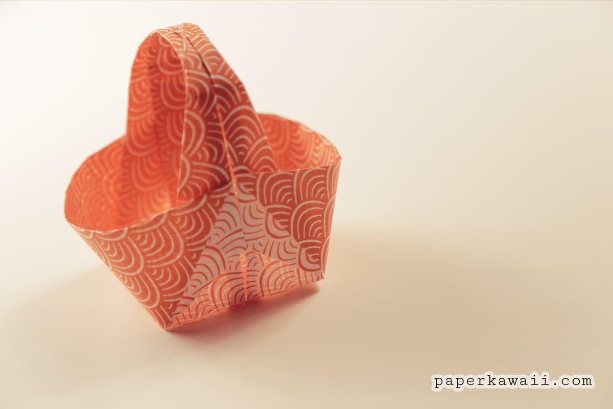 origami easter basket tutorial paper kawaii