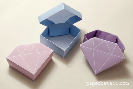 Origami Box with Cover Folding Instructions - How to Fold an ... | 376x564