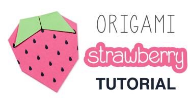Origami Strawberry Tutorial & Free Printable via @paper_kawaii