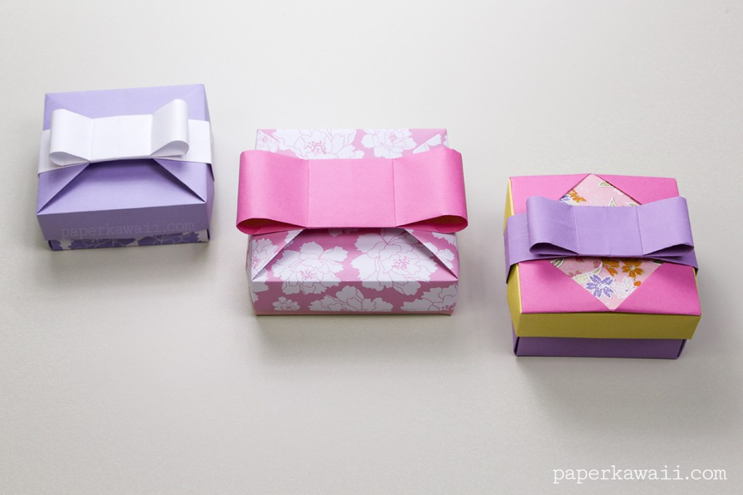 Origami Gift Box - Mix & Match Lids - Learn how to make a pretty origami gift box with interchangeable lid decorations, you can create many different looks with this one origami box. - paper kawaii - #origami #box #giftbox #bow #origamibow #cute #kawaii #diy #crafts #papercrafts #howto #instructions #tutorial