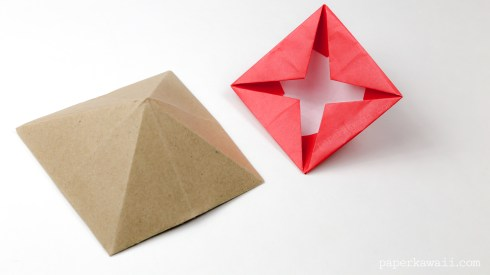 Origami Square Pyramid - House Lid via @paper_kawaii