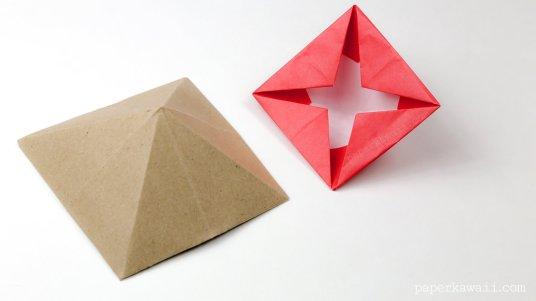 origami square pyramid house box tutorial #origami #house #box #diy
