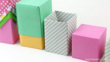Tall Origami Box - Video Tutorial via @paper_kawaii