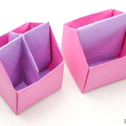 origami toolbox or pencil pot - tutorial #diy #origami #box #crafts
