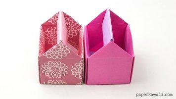 origami toolbox pen pot instructions paper kawaii