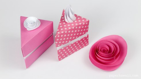Origami Cake Slice Box Instructions via @paper_kawaii