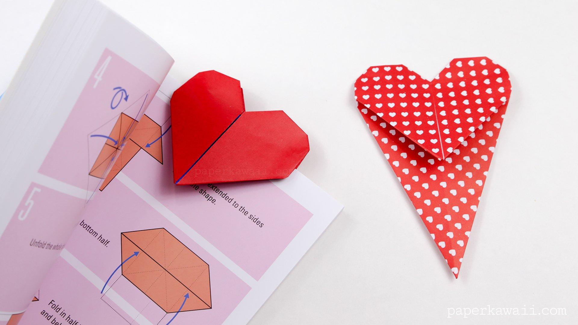 Origami Heart Bookmark Instructions