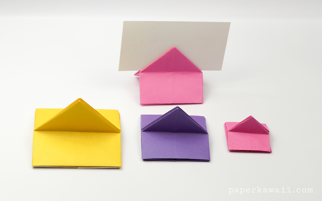 Origami House Shaped Card Stand Instructions Paper Kawaii