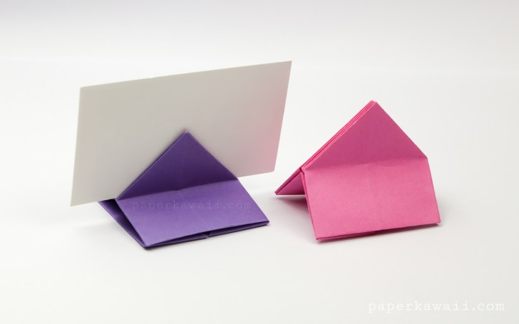 Origami House Shaped Card Stand Instructions via @paper_kawaii