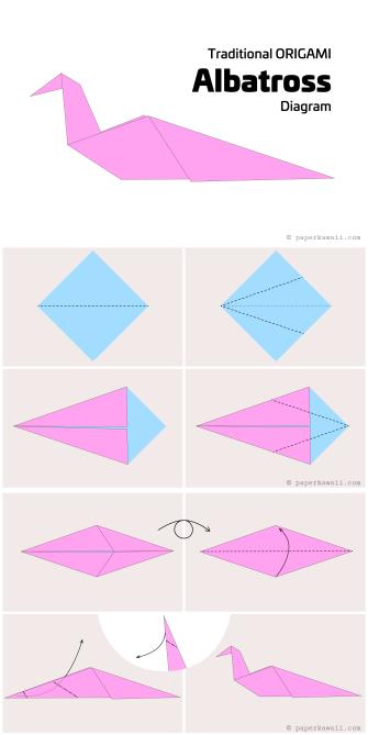 Origami Albatross Bird Diagram - Paper Kawaii #origami #diagram